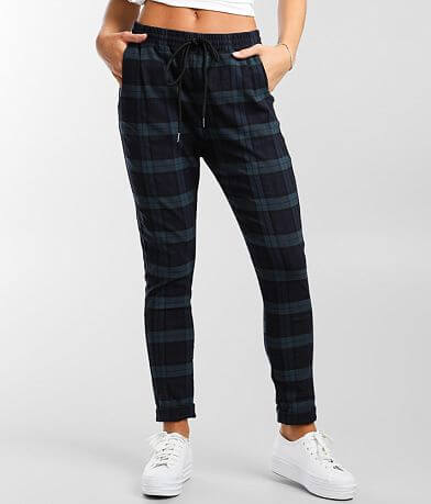 Shinestar Plaid Stretch Cuffed Jogger Pant