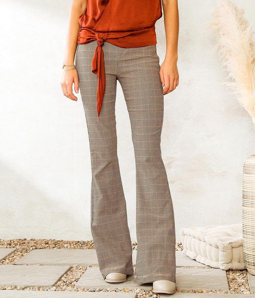 Shinestar Houndstooth Flared Stretch Pant