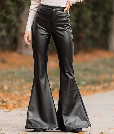 Shinestar High Rise Faux Leather Flare Pant