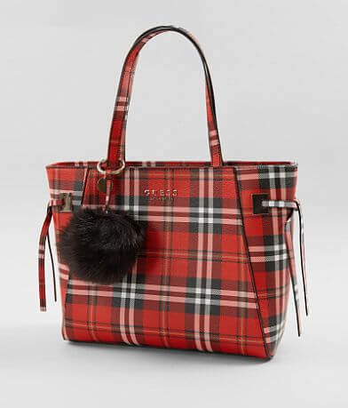 Guess Lizzy Plaid Tote Purse