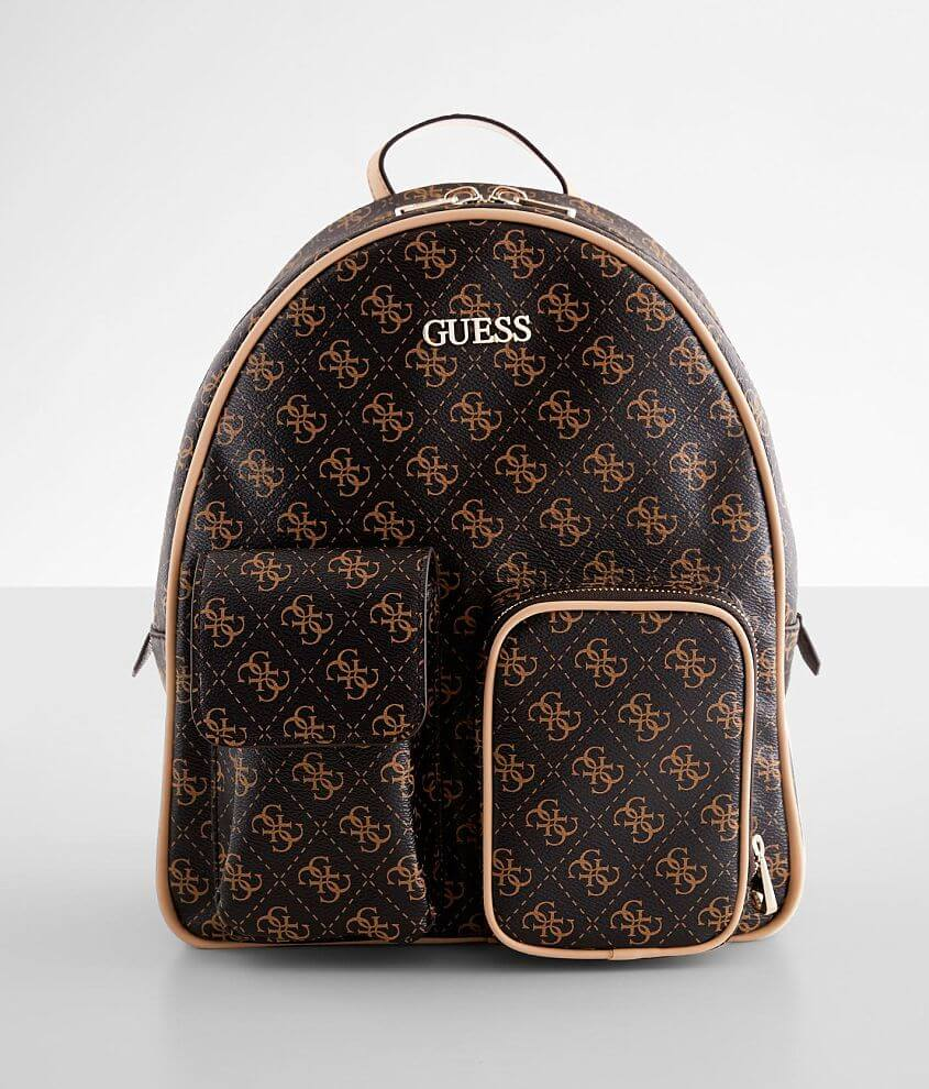 Logo printed faux leather backpack Zipper closure Interior zip and pouch pockets Adjustable straps Dimensions: 10\\\