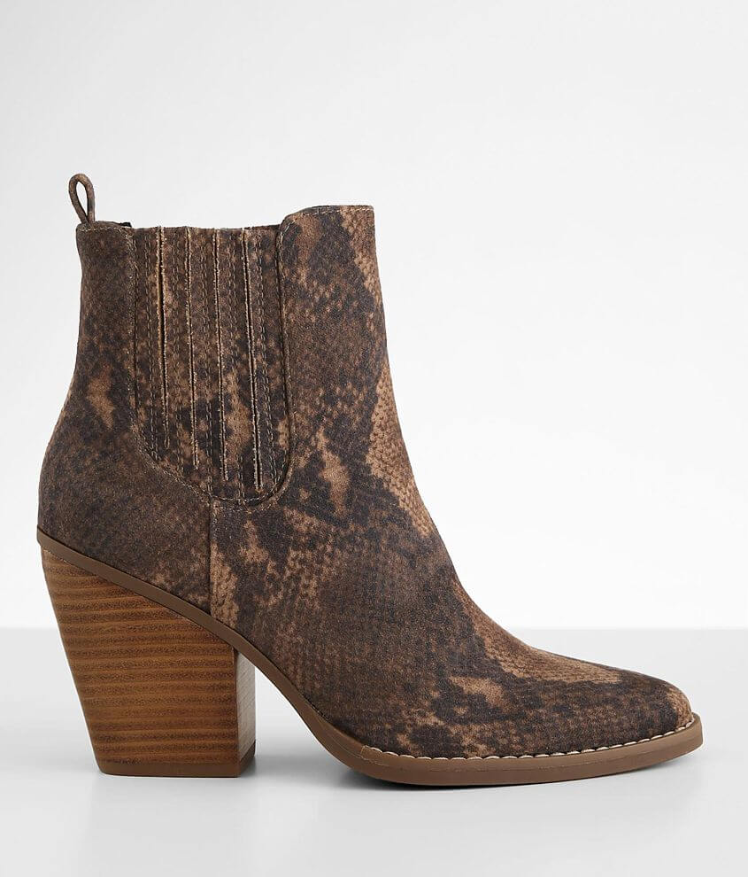 Madden Girl Kemper Snake Print Heeled Ankle Boot front view