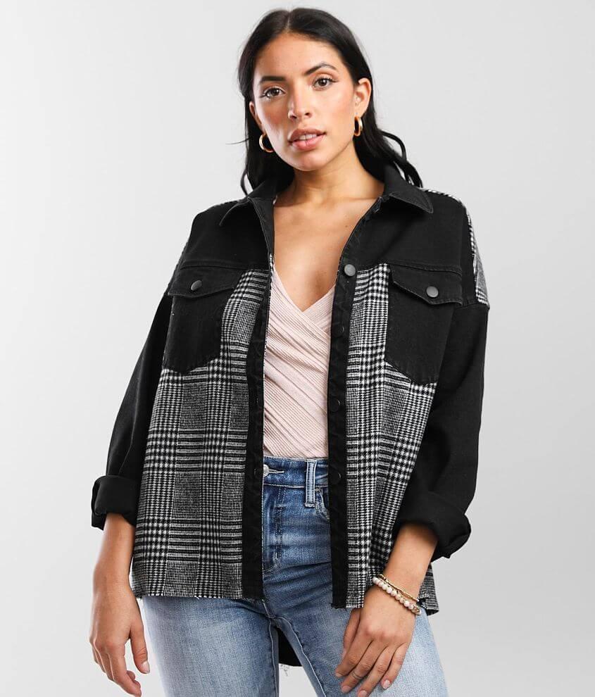 BKE Pieced Flannel Denim Stretch Jacket front view