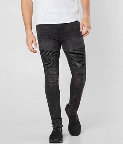 NITROUS BLACK Black Out Skinny Taper Stretch Jean