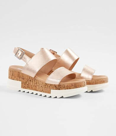 Steve Madden Brenda Metallic Leather Wedge Sandal