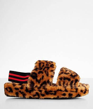Steve Madden Fluff Leopard Slipper