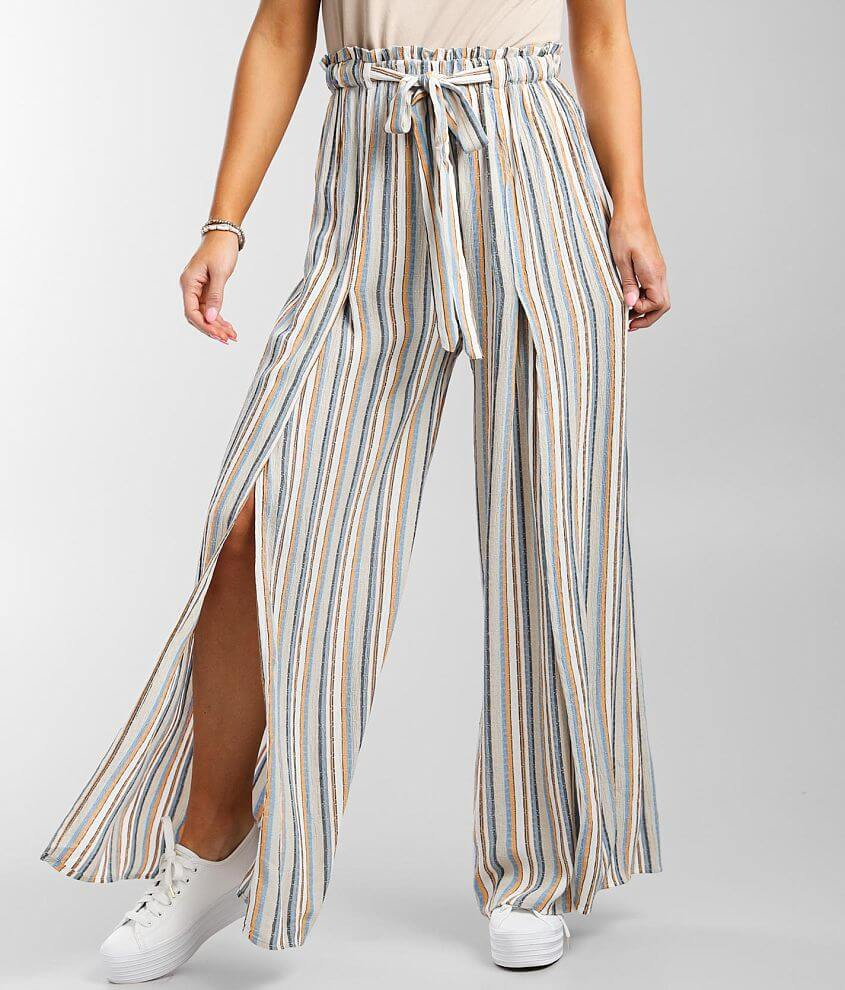 Angie Striped Woven Wide Leg Paperbag Beach Pant front view