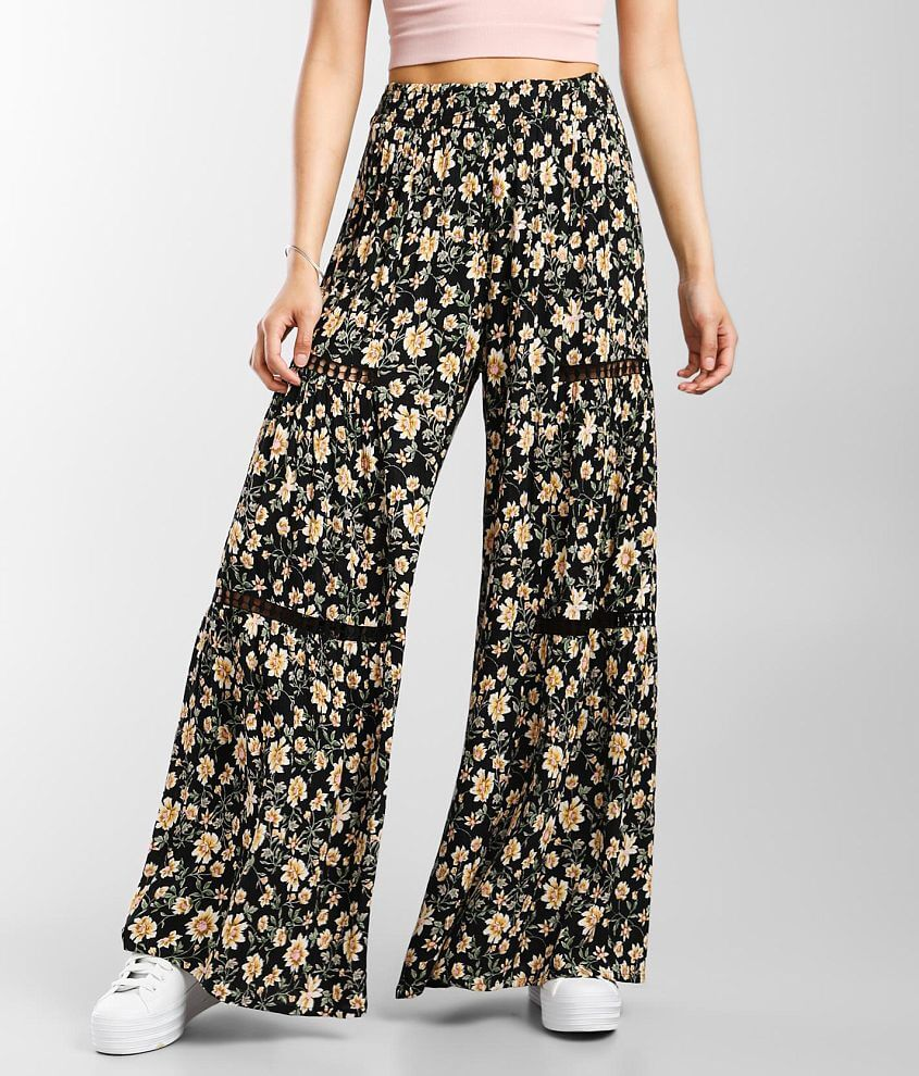 Angie Floral Crochet Inset Wide Leg Beach Pant front view