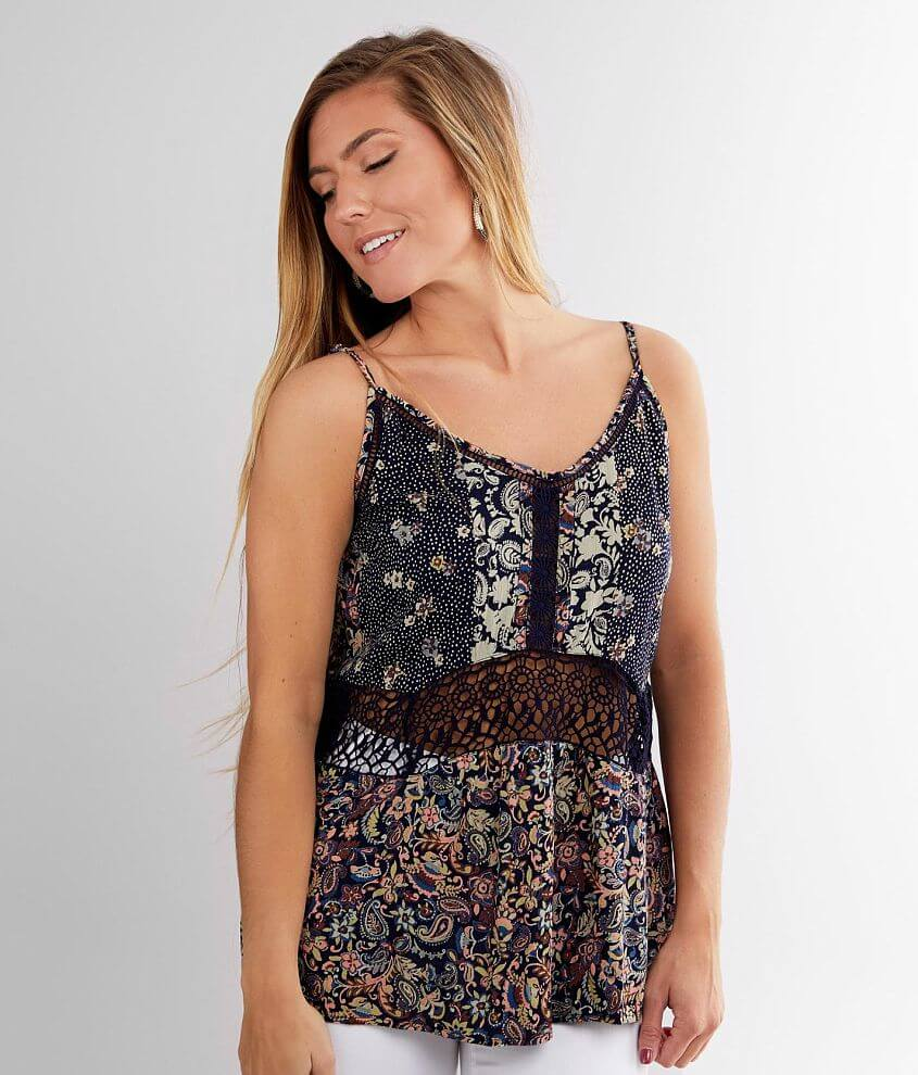 Daytrip Paisley & Floral Tank Top front view