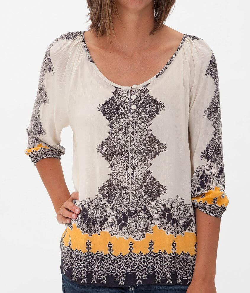 Angie Printed Henley Top front view