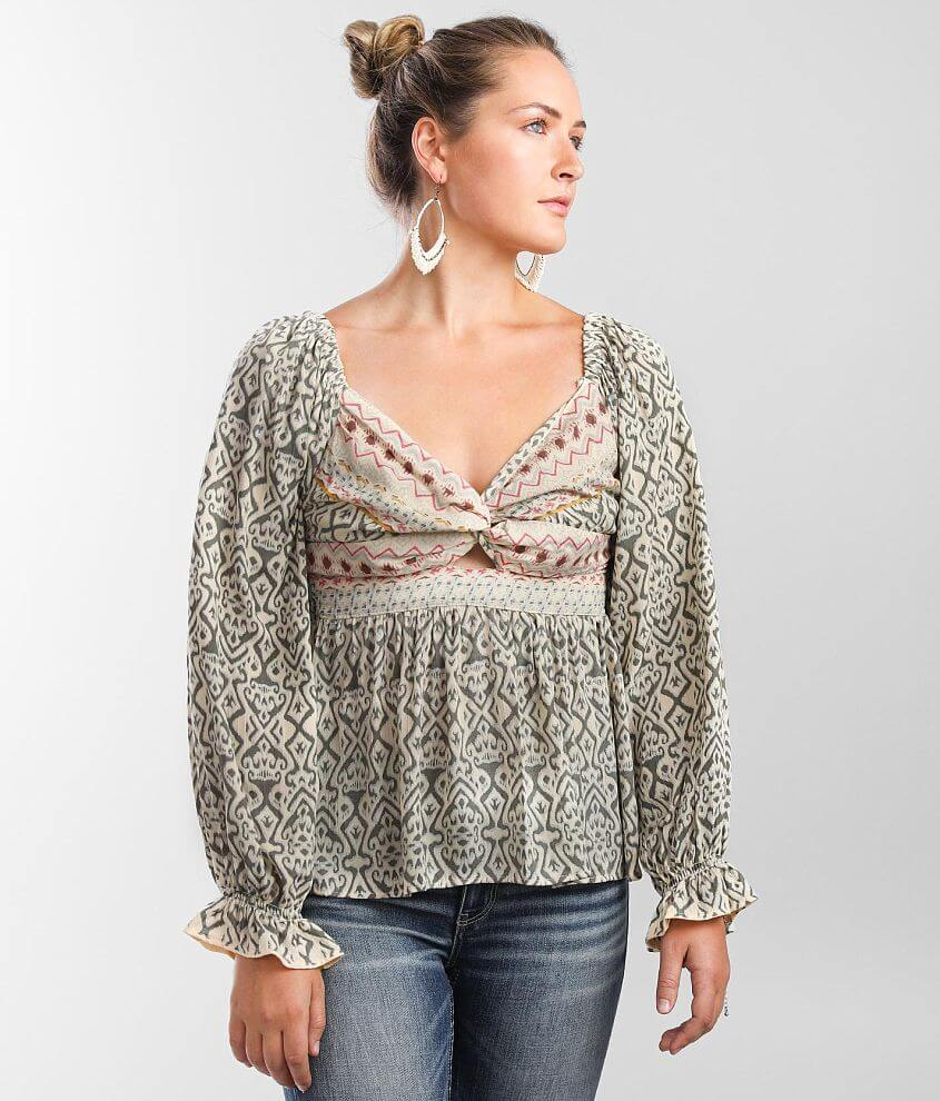 Angie Mixed Print Twisted Top front view