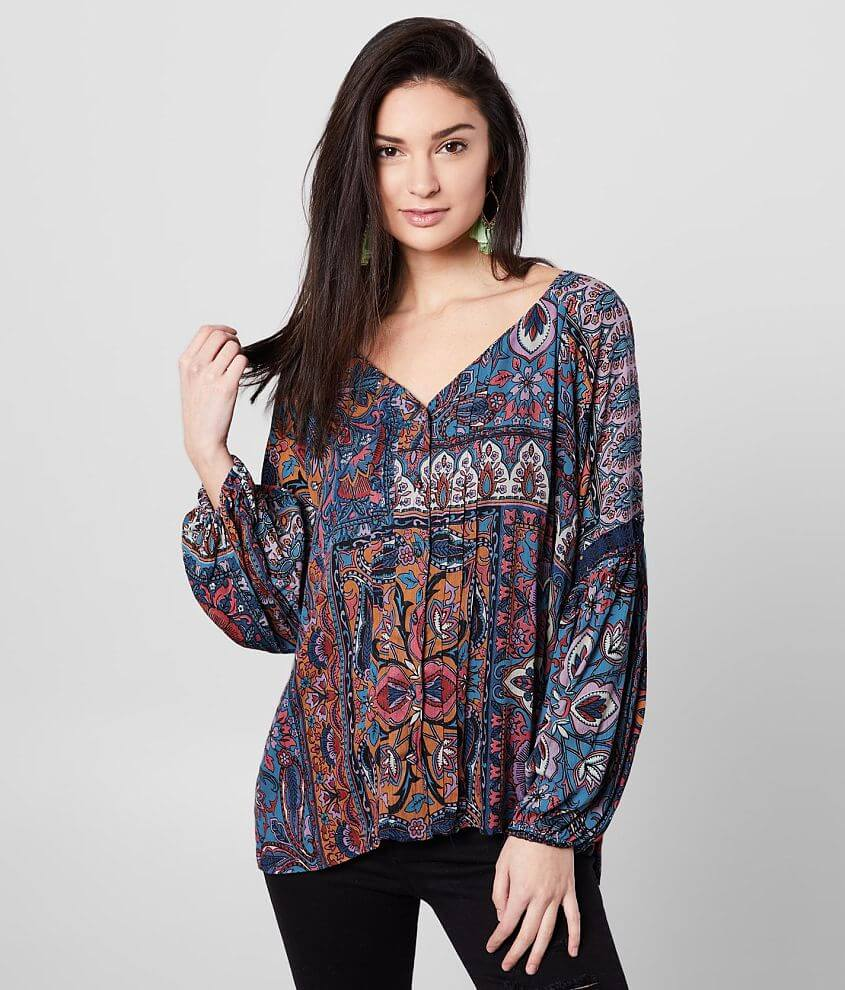Angie Pleated V-Neck Floral Peasant Top front view