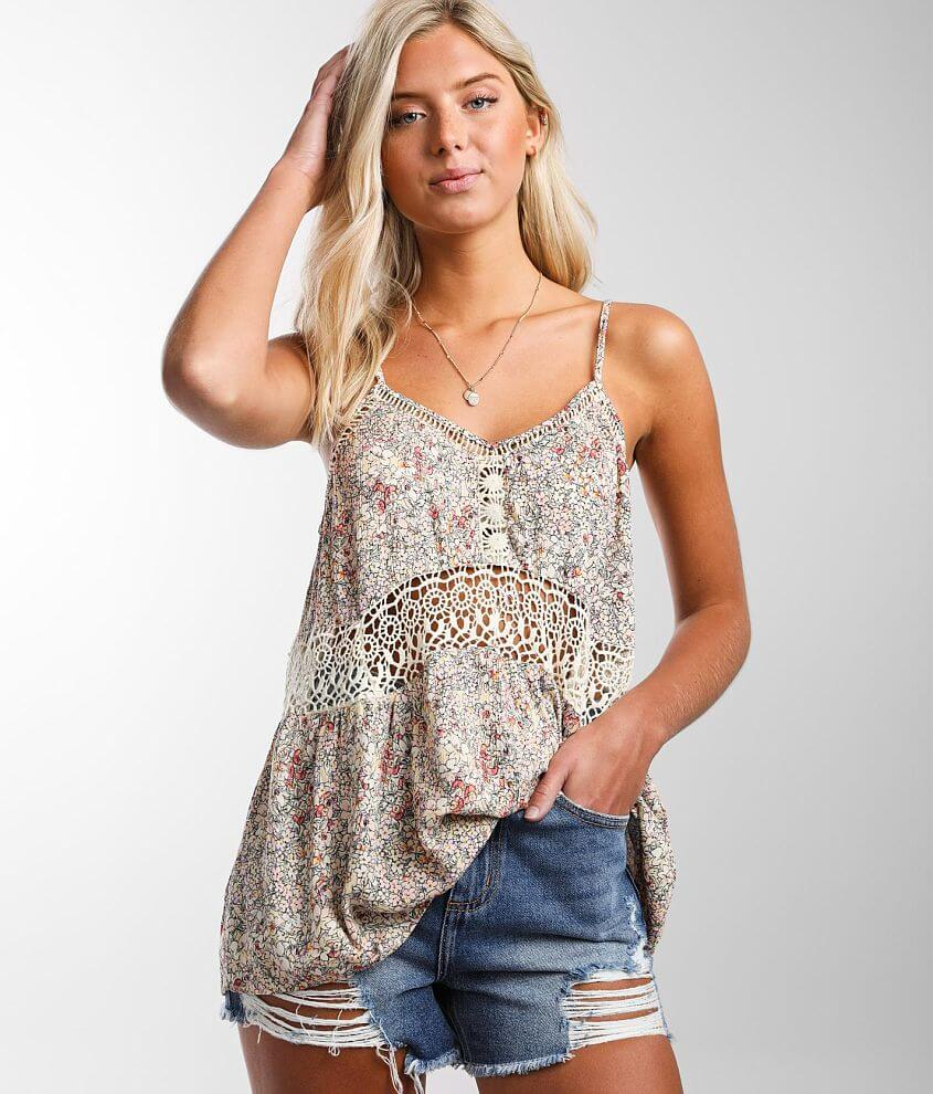 Daytrip Crochet Inset Tank Top front view