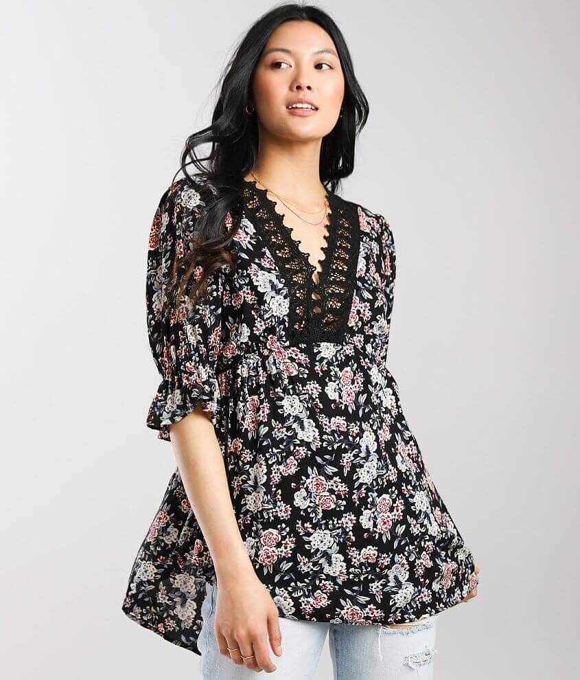 Angie Floral Crochet Trim Babydoll Top front view