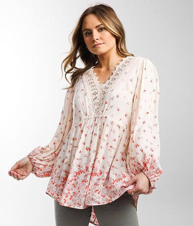 Angie Flowy Floral Crinkle Blouse
