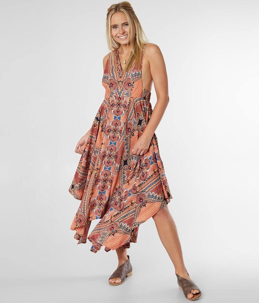 Angie Flowy Boho Midi Dress front view
