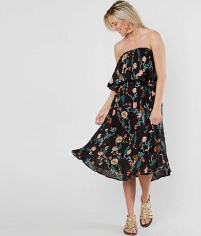 Angie Floral Print Strapless Dress