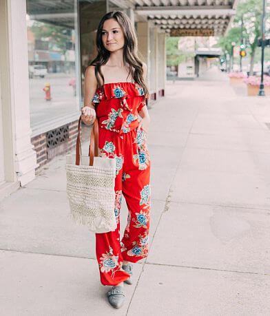 35632bc05a8e Angie Strapless Floral Jumpsuit