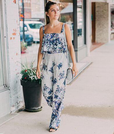Angie Floral Print Wide Leg Jumpsuit