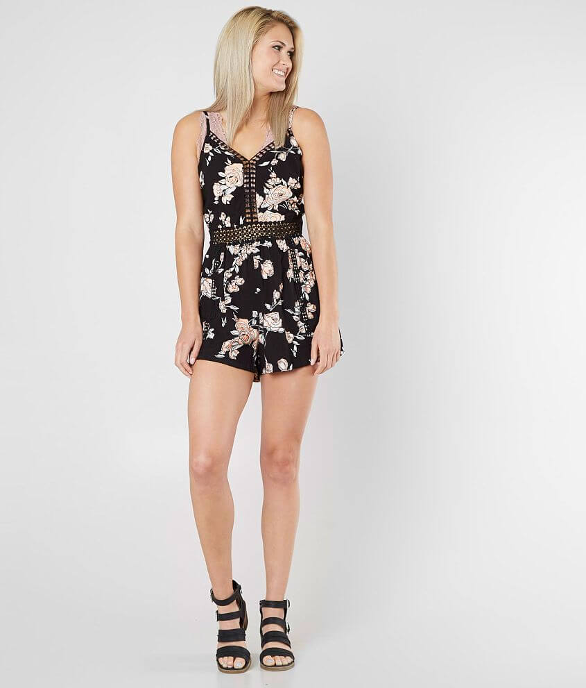 Angie Floral Print Romper front view
