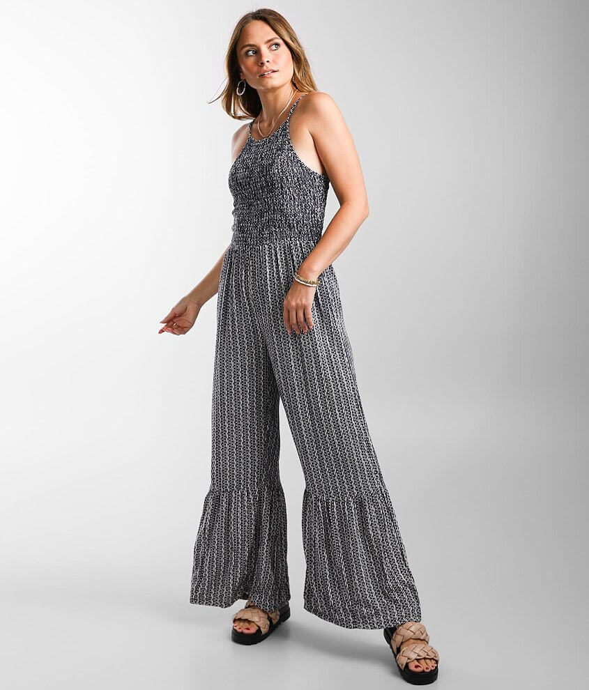 Angie Smocked High Neck Jacquard Jumpsuit front view