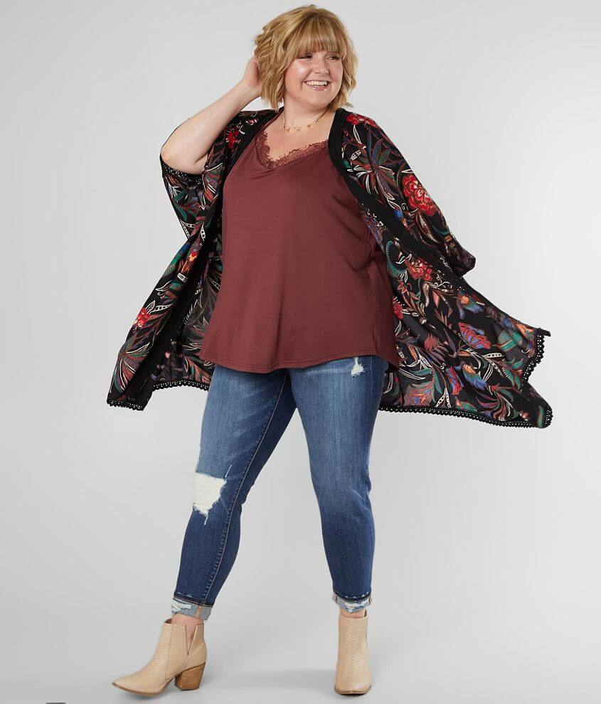 Angie Floral Kimono - Plus Size Only front view