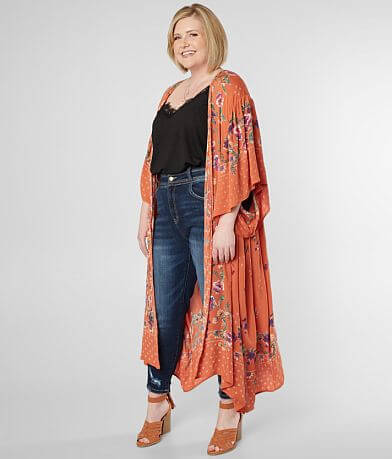 Angie Floral Duster Cardigan - Plus Size Only