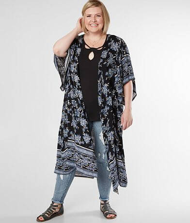 Angie Floral Crinkle Kimono - Plus Size Only