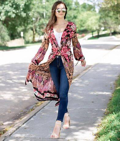 Angie Floral Print Duster Cardigan