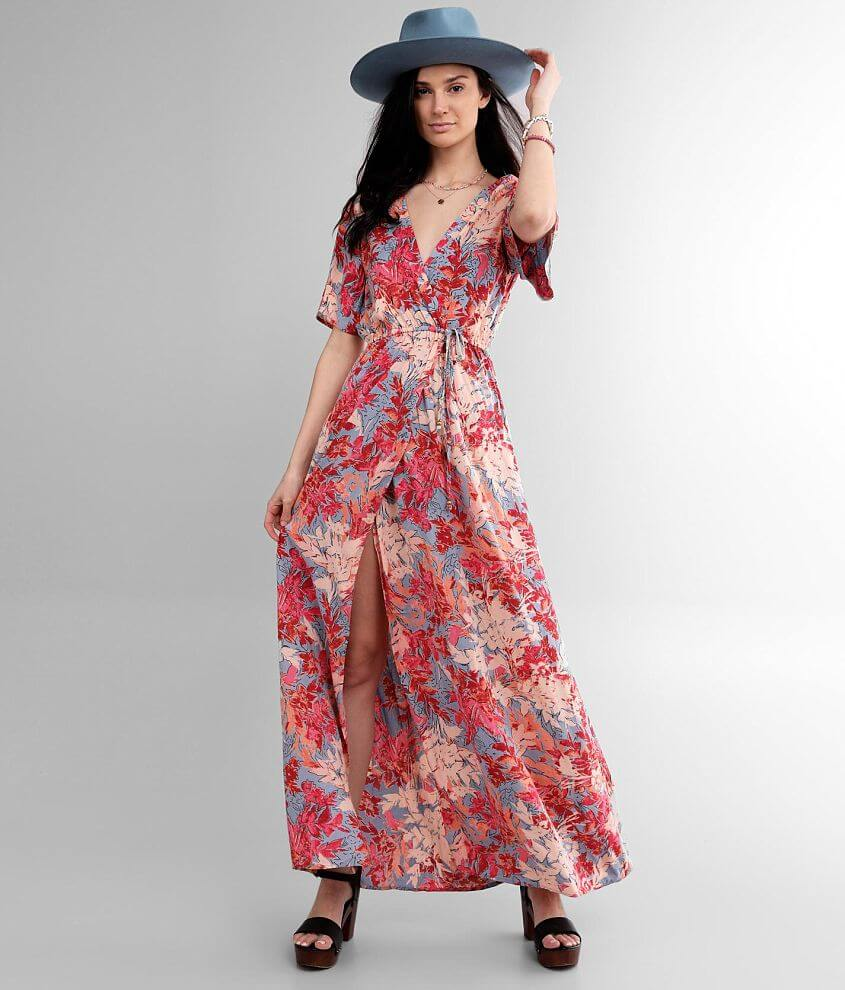 Angie Floral Surplice Flyaway Dress front view