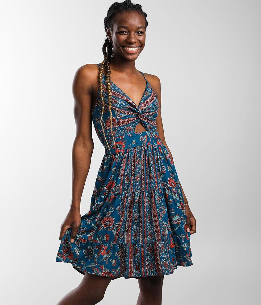 Angie Floral Twist Front Dress front view
