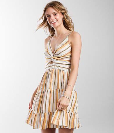Angie Striped Keyhole Dress