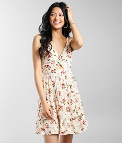 Angie Floral Front Keyhole Mini Dress