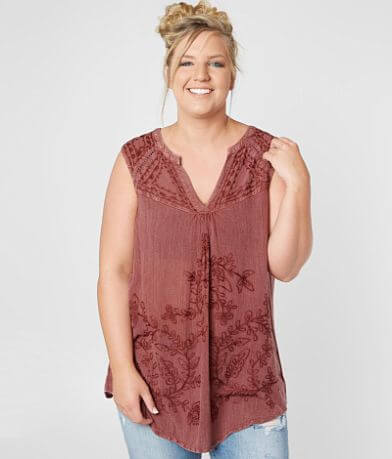Sky And Sand Floral Tank Top - Plus Size Only
