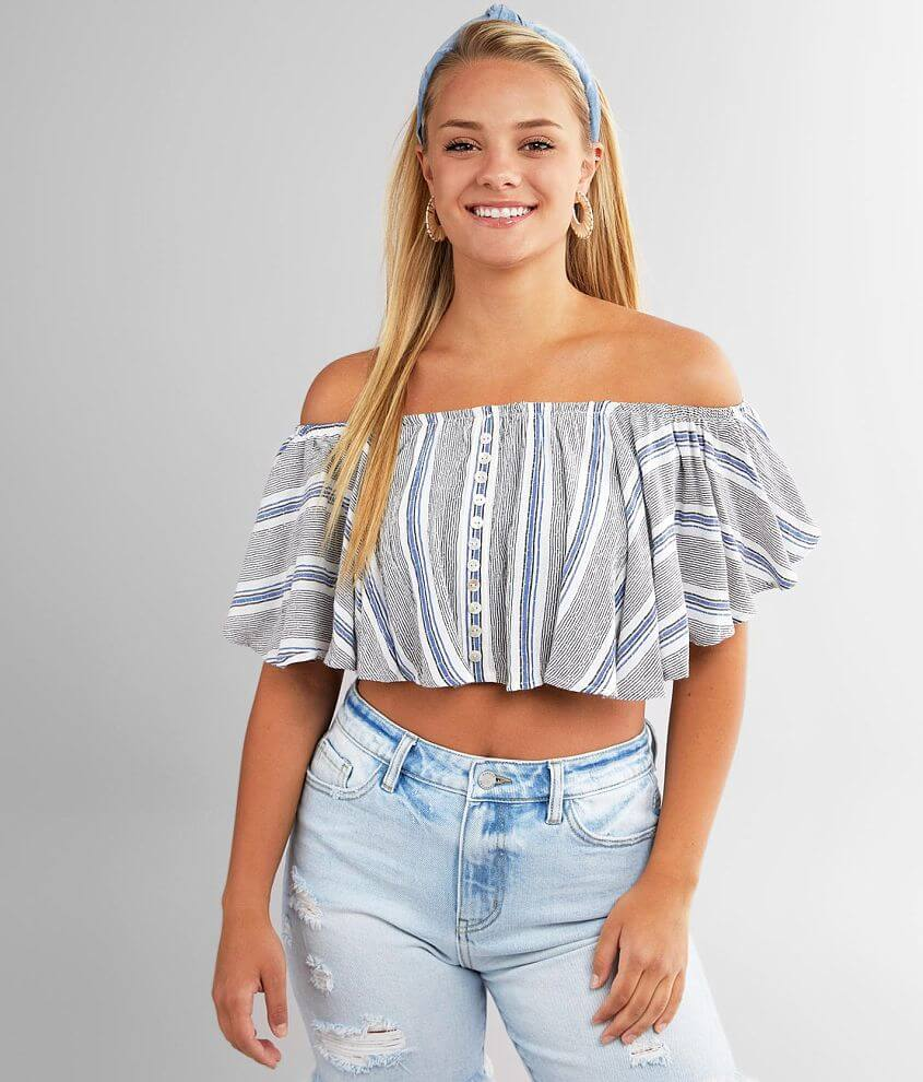 Angie Off The Shoulder Cropped Top front view