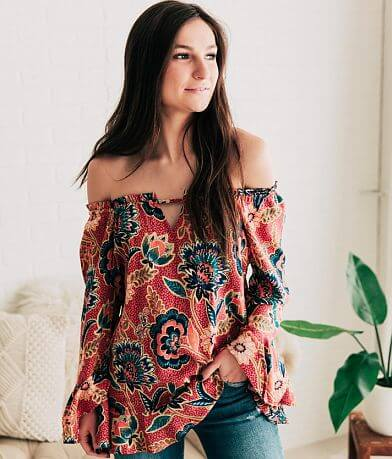 Willow & Root Ruffled Floral Top