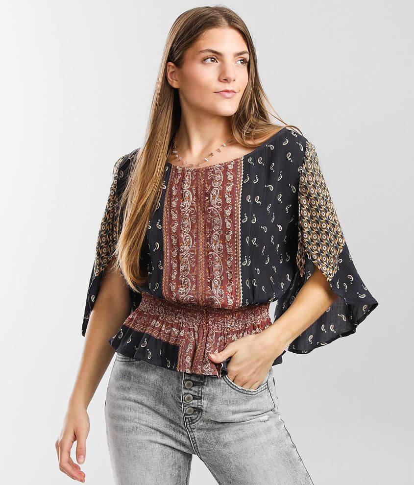 Angie Mixed Print Crinkle Top front view