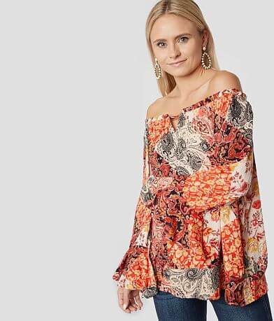 Willow & Root Pieced Off The Shoulder Top