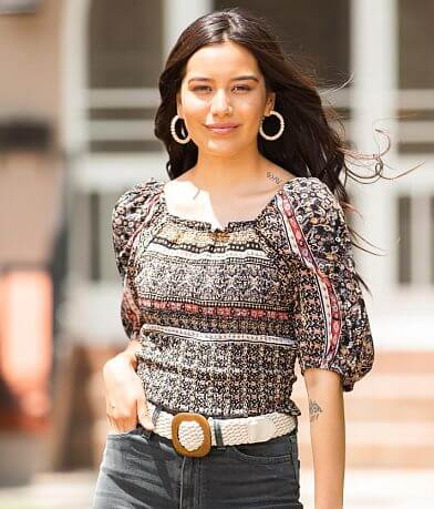 Willow & Root Medallion Print Cropped Top