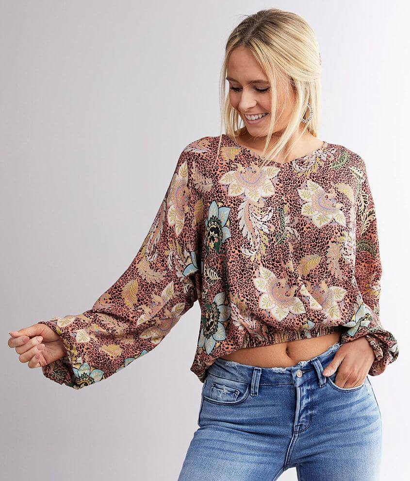 Angie Floral Animal Print Top front view