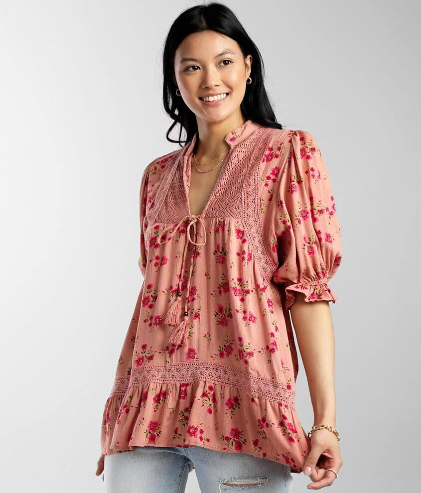Angie Floral Front Tie Ruffle Hem Top front view