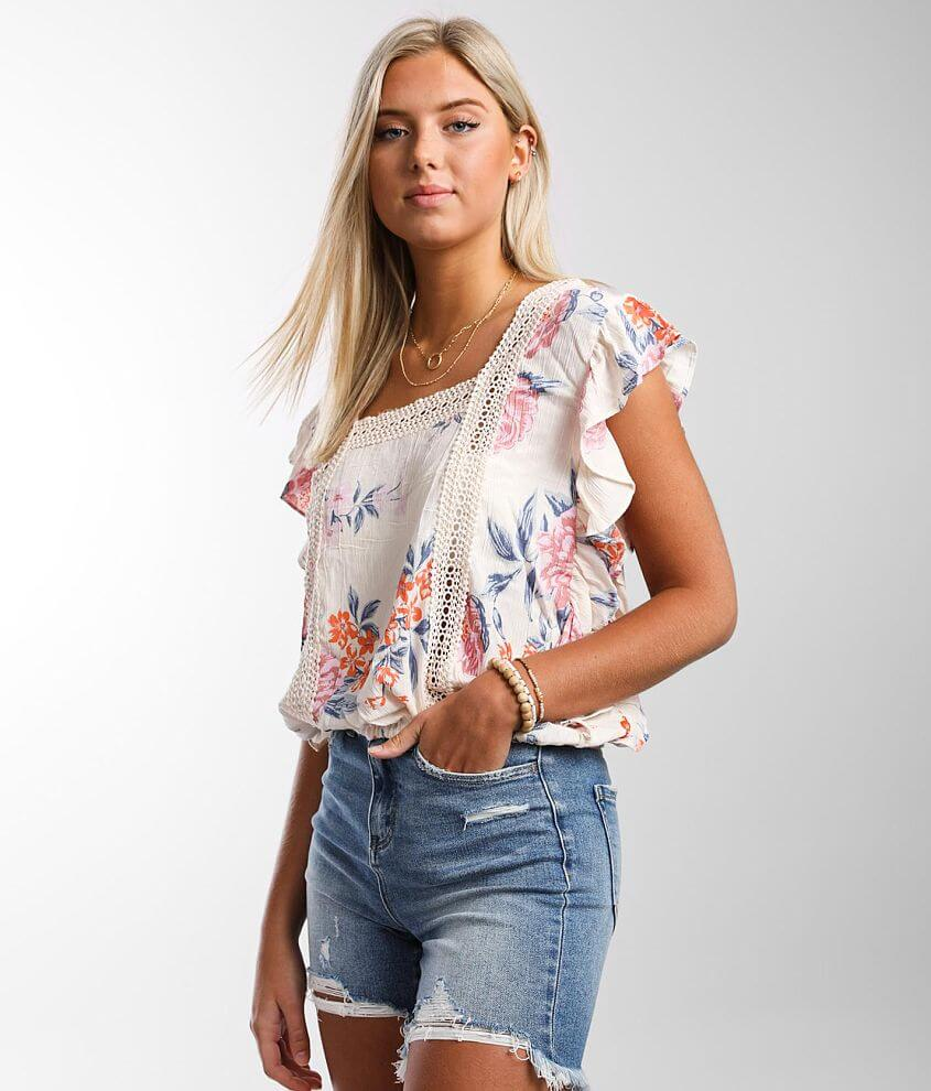 Angie Flutter Ruffle Top front view