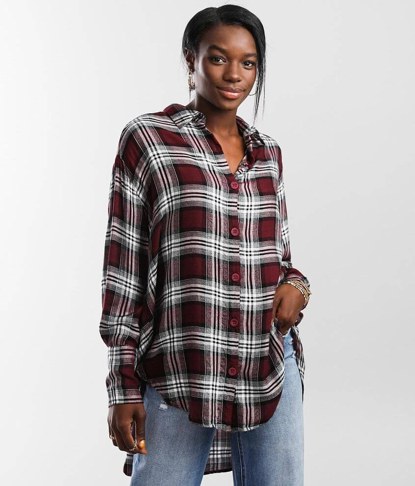Angie Plaid Tunic Shirt front view
