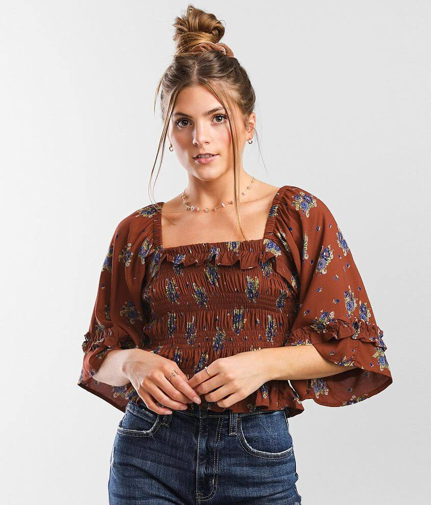 Angie Smocked Floral Cropped Top front view