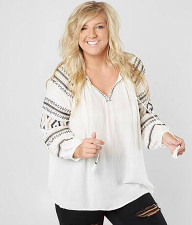Sky And Sand Crinkle Top - Plus Size Only
