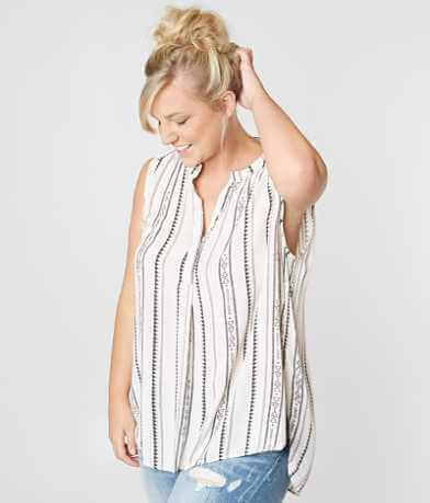 Sky & Sand Henley Tank Top - Plus Size Only
