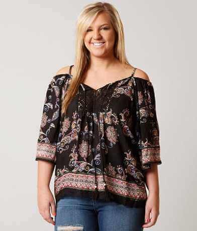 Angie Cold Shoulder Top - Plus Size Only