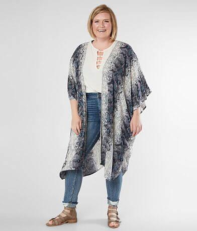 Angie Snakeskin Print Kimono - Plus Size Only
