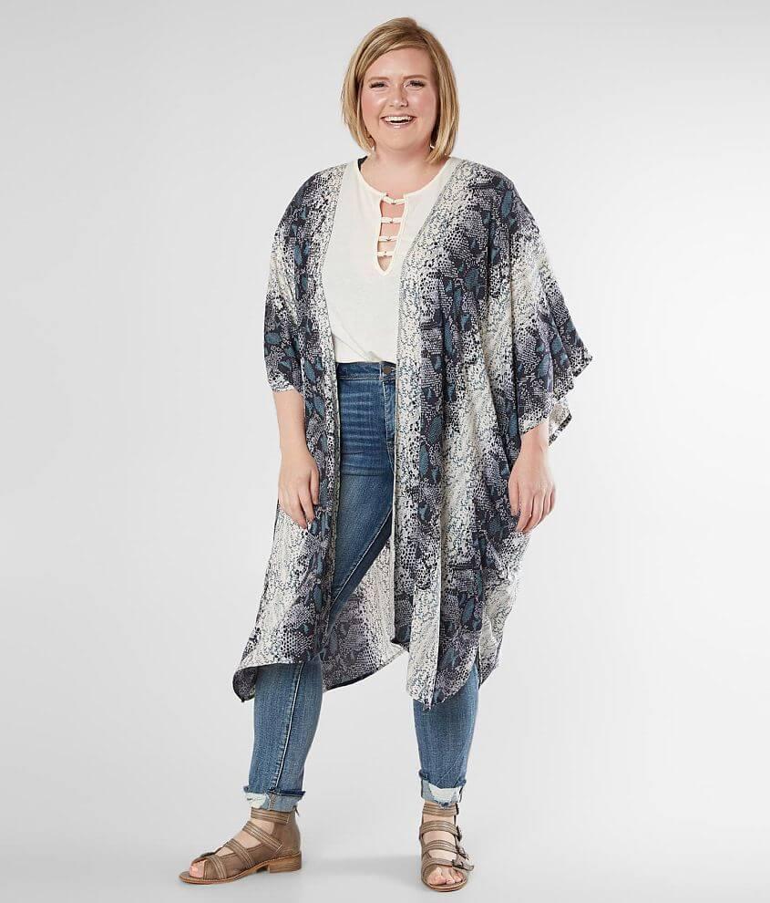 Angie Snakeskin Print Kimono - Plus Size Only front view