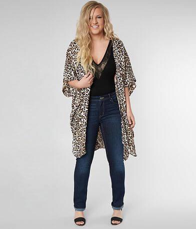 Angie Cheetah Print Kimono - Plus Size Only